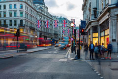 Regent Street in London, UK, at dusk Stock Images