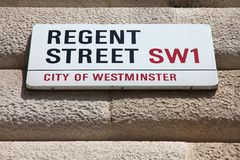 Regent Street. LONDON, UK - MAY 13, 2012: View of Regent Street sign in Westminster, London. London is the most populous urban zone and metropolitan area in the Stock Photos