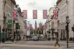 Regent street London Union Jack flags Royalty Free Stock Images