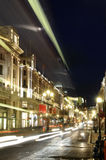 Regent Street in night. Night scene with traffic on Regent Street London UK, summer season Royalty Free Stock Image