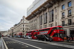 Regent Street and red buses Royalty Free Stock Photos