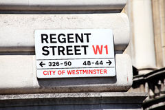 Regent Street sign. Westminster West End London England UK Royalty Free Stock Images
