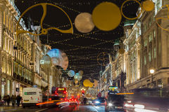 Regent Street während des Weihnachten Stockbilder