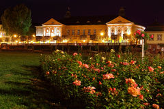 Regentenbau Baroque building with rose garden at night Stock Image