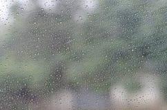 Regentropfen auf Glashintergrund Stockfotos