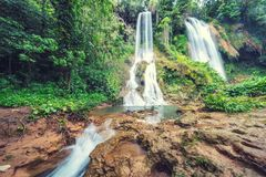 Regenwalddschungel Wasserfall stockbild