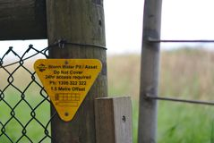 Regenwasser Pit Do Not Cover Sign lizenzfreie stockfotos