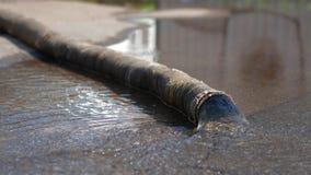 Regenwasser wird aus dem Schlauch heraus gepumpt stock video