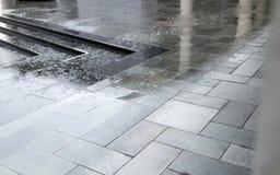 Regenwater op straatsteen Royalty-vrije Stock Foto's