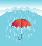 Regenwolken mit rotem Regenschirm Vektorfrühlingshimmel lizenzfreie abbildung