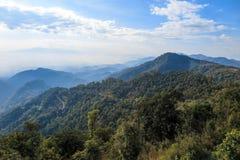Regenwoud en landweg met mist, wolk en blauwe hemel Royalty-vrije Stock Afbeeldingen