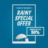 Regenzeitverkaufsangebot für Rabattförderungsfahne mit Frosch, Regenschirm und Geschenk in der Papierkunst lizenzfreie abbildung