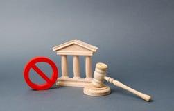 Regering- eller bankbyggnad och ett r?tt INGET symbol med en domareauktionsklubba F?rklaring av standard eller konkurs av banken  fotografering för bildbyråer