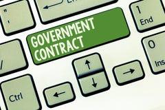 Regerings- avtal för ordhandstiltext Affärsidé för att överenskommelseprocessen ska sälja service till administrationen royaltyfria foton