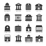 Regerings- byggnadssymbolsuppsättning Vektorbyggnader gillar universitetet, poliskontoret och stadshuset, sjukhusmuseum Royaltyfri Fotografi
