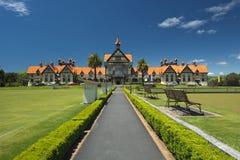 Regerings- trädgårdar och museum, Rotorua, Nya Zeeland Arkivbild