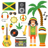 Reggae artist musical instrument and rastafarian elements collection vector illustration. Royalty Free Stock Photography