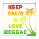 Reggae background with gradient  pulms silhouette and quote Stock Photography
