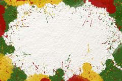Reggae background. Green yellow green color drop on white paper illustration background,abstract Reggae background,copy space in center art texture colorful royalty free illustration