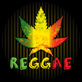 Reggae. Background with leaf of cannabis and text Stock Image