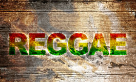 Reggae background. A wooden board with the text reggae Stock Photography