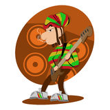 Reggae dread lock bass player Stock Image