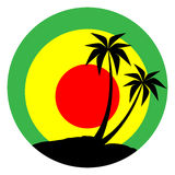 Reggae emblem with black pulms silhouette Royalty Free Stock Images