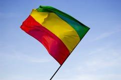 Reggae flag over blue sky. Red, yellow, green reggae flag over blue sky royalty free stock image