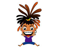 Reggae Girl. Vector Raggea Girl Cartoon Drawing Stock Photo