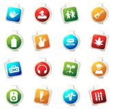 Reggae icons set. Reggae color icon for web sites and user interfaces Stock Photos