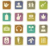 Reggae icons set. Reggae icon set for web sites and user interface Stock Images