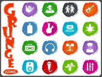 Reggae icons set. Music symbols icon set in grunge style Stock Images