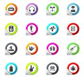 Reggae icons set. Reggae pointer on the color icons for your design Stock Images