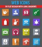 Reggae icons set. Reggae web icons in flat design with long shadows Royalty Free Stock Images