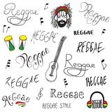 Reggae lettering. Ang objects on white backfround vector illustration