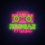 Reggae loga Muzyczny Neonowy wektor Reggae neonowego znaka pojęcie, projekta szablon, nowożytny trendu projekt, nocy neonowy sign Royalty Ilustracja
