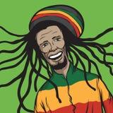 Reggae mężczyzna ono uśmiecha się ilustracji