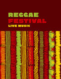 Reggae music classic color background. Jamaica poster vector illustration with tribal hand drawn stripe patterns Royalty Free Stock Photos