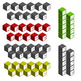 Reggae music cubic square fonts in different colors Stock Photo