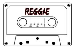 Reggae Music Tape Cassette. A typical old fashioned audio cassette in black line over a white background with text Reggae stock illustration