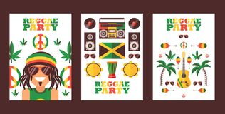 Reggae party invitation, vector illustration. Jamaican style music festival announcement. Simple flat design banner for