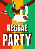 Reggae Party poster. Retro typographical grunge vector illustration. Stock Photo