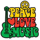 Reggae Peace Love Music. Retro-style text design with guitar, peace symbol, heart and musical notes in Rasta colors. Text design is my own stock illustration