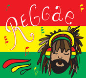 Reggae, rastaman in headphones. Rastaman in headphones, with notes and lettering of reggae on color background stock illustration