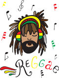 Reggae, rastaman in headphones. Rastaman in headphones, with notes and lettering of reggae on white background stock illustration