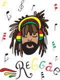 Reggae, rastaman w hełmofonach ilustracji