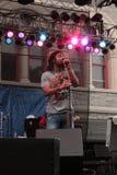 Reggae Singer. A reggae band performs at ArtScape in Baltimore Royalty Free Stock Image