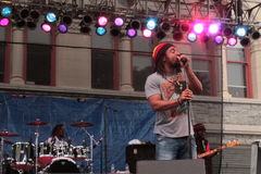 Reggae Singer. A reggae band performs at ArtScape in Baltimore stock photography