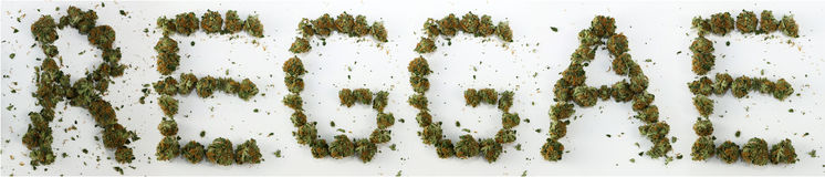 Reggae som stavas med marijuana Arkivfoton