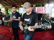 Reggae. Student playing reggae music at a college in the city of Solo, Central Java, Indonesia Stock Images